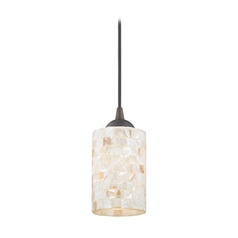 Mosaic Mini-Pendant Light with Cylinder Glass in Bronze Finish