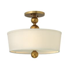 Ceiling Light with White Drum Shade in Vintage Brass Finish