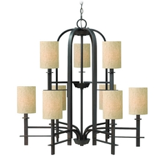 Hinkley 9-Light Chandelier with Beige/Cream Shade in Regency Bronze