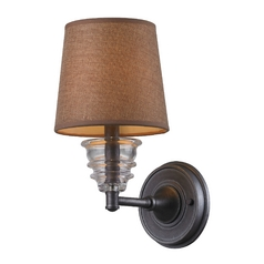 Sconce Wall Light with Brown Shade in Weathered Zinc Finish