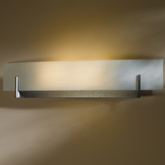 Hubbardton Forge Axis Burnished Steel Sconce with White Art Glass Shade