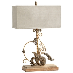 Cyan Design Lindley Sawyer's White Wash Plantation Bronze Table Lamp with Rectangle Shade