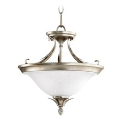 Quorum Lighting Flora Aged Silver Leaf Pendant Light with Bowl / Dome Shade