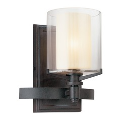 Sconce Wall Light with Clear Glass in French Iron Finish