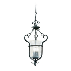Pendant Light with Clear Glass in Weathered Iron Finish