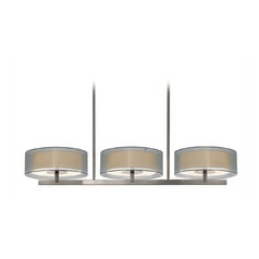 Modern Drum Island Light with Silver Shades in Satin Nickel Finish