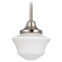 Design Classics Lighting 6-Inch Schoolhouse Mini-Pendant Light in Polished Nickel Finish FC3-15 / GC6