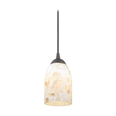 Mosaic Mini-Pendant Light with Dome Shade in Bronze Finish