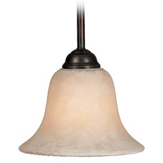Golden Lighting Rubbed Bronze Mini-Pendant Light with Bell Shade