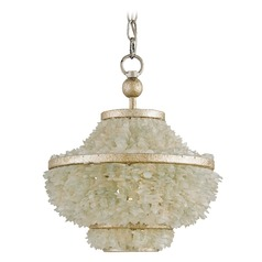Currey and Company Shoreline Harlow Silver Leaf / Seaglass Pendant Light