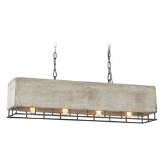 Elk Lighting Brocca Silverdust Iron Island Light with Rectangle Shade