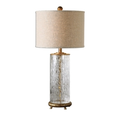 Table Lamp with Beige / Cream Shade in Antique Gold Finish