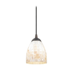 Mosaic Mini-Pendant Light with Bell Shade in Bronze Finish