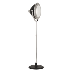 Mid-Century Modern Floor Lamp Polished Nickel / Grey Painted Apollo by Robert Abbey