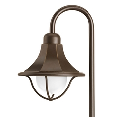 Path Light with White Glass in Antique Bronze Finish