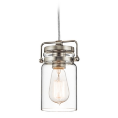 Kichler Lighting Brinley Brushed Nickel Mini-Pendant Light with Cylindrical Shade