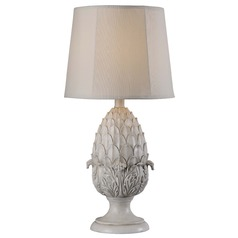 Kenroy Home Lighting Artichoke Roman White Table Lamp with Hexagon Shade