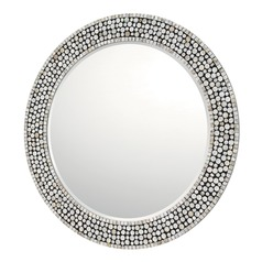 Capital Lighting Grey, Silver, Black And Mother Of Pearl Round Mirror 35.5x35.5