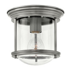 Industrial Antique Nickel Flushmount Light by Hinkley Lighting