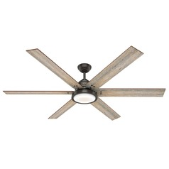 Hunter 70-Inch Noble Bronze LED Ceiling Fan with Light and Wall Control