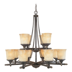 Chandelier with Beige / Cream Glass in Weathered Saddle Finish