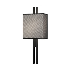 Modern Sconce Wall Light with Black Shades in Satin Black Finish