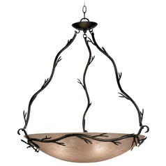 Pendant Light with Amber Glass in Bronze Finish