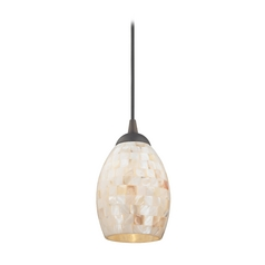 Mosaic Mini-Pendant Light with Oblong Glass Shade in Bronze Finish