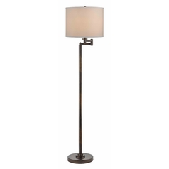 Bronze Swing Arm Floor Lamp with Drum Shade