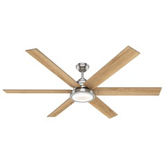 Hunter 70-Inch Brushed Nickel LED Ceiling Fan with Light and Wall Control