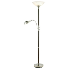 Modern Floor Lamp with Alabaster Glass in Walnut Finish
