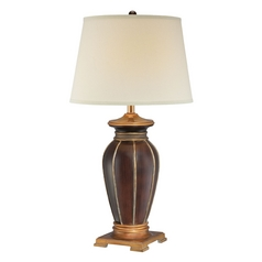 Table Lamp with White Shade in Dark Brown / Antique Gold Finish