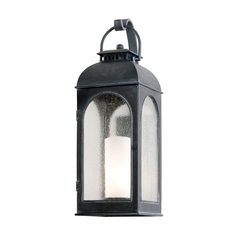 Outdoor Wall Light with Clear Glass in Antique Iron Finish