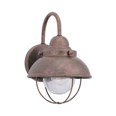 Outdoor Wall Light with Clear Glass in Weathered Copper Finish