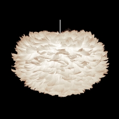 Modern Pendant Light with Feather Oval Shade and White Cord Assembly