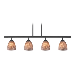 Modern Black Linear Pendant Light with Brown Art Glass 4 Lt