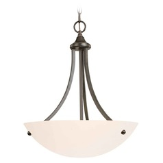 Umbria Olde World Iron Pendant Light with Bowl / Dome Shade