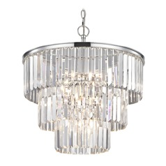 Three Tiered Crystal Chandelier Chrome