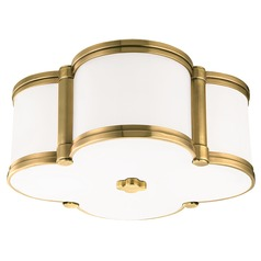 Chandler 2 Light Flushmount Light Clover Shaped Glass - Aged Brass