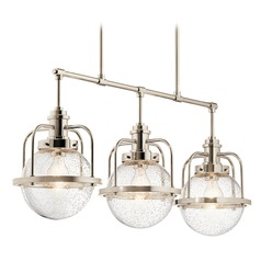 Industrial Seeded Glass Island Light Polished Nickel Triocent by Kichler Lighting