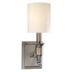 Sconce Wall Light with White Shade in Antique Nickel Finish
