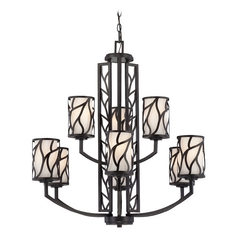 Chandelier with White Glass in Artisan Finish