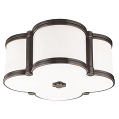 Chandler 2 Light Flushmount Light Clover Shaped Glass - Old Bronze