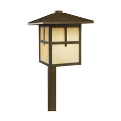 Progress Lighting Path Light with Art Glass in Weathered Bronze Finish P5273-46