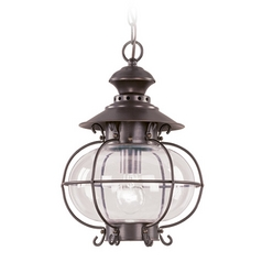 Livex Lighting Outdoor Hanging Light with Clear Glass in Bronze Finish 2225-07
