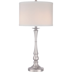 Quoizel Ambrose Brushed Nickel Table Lamp with Drum Shade
