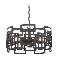 Elk Lighting Garriston Clay Iron Pendant Light with Drum Shade