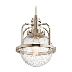 Industrial Seeded Glass Pendant Light Polished Nickel Triocent by Kichler Lighting