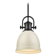 Golden Lighting Temporary Black Mini-Pendant Light with Bowl / Dome Shade