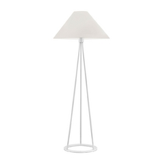 Modern Floor Lamp with White Shade in Gloss White Finish